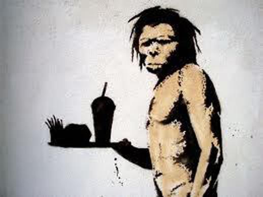 caveman and fast-food